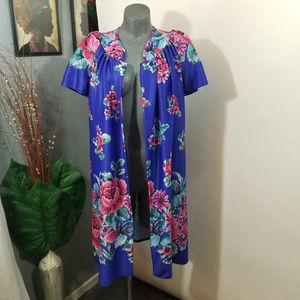 Vintage Mumu Dress Night Gown Blue Size Small